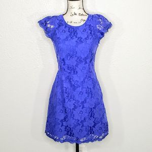 Signature 8 Blue Lace Mini Dress Size M
